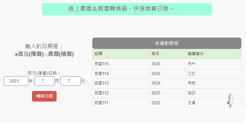 線上國曆農曆轉換器